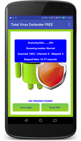 Total Antivirus Defender for Android: new release 2.3.7 to block virus and malware on smartphone and tablet!