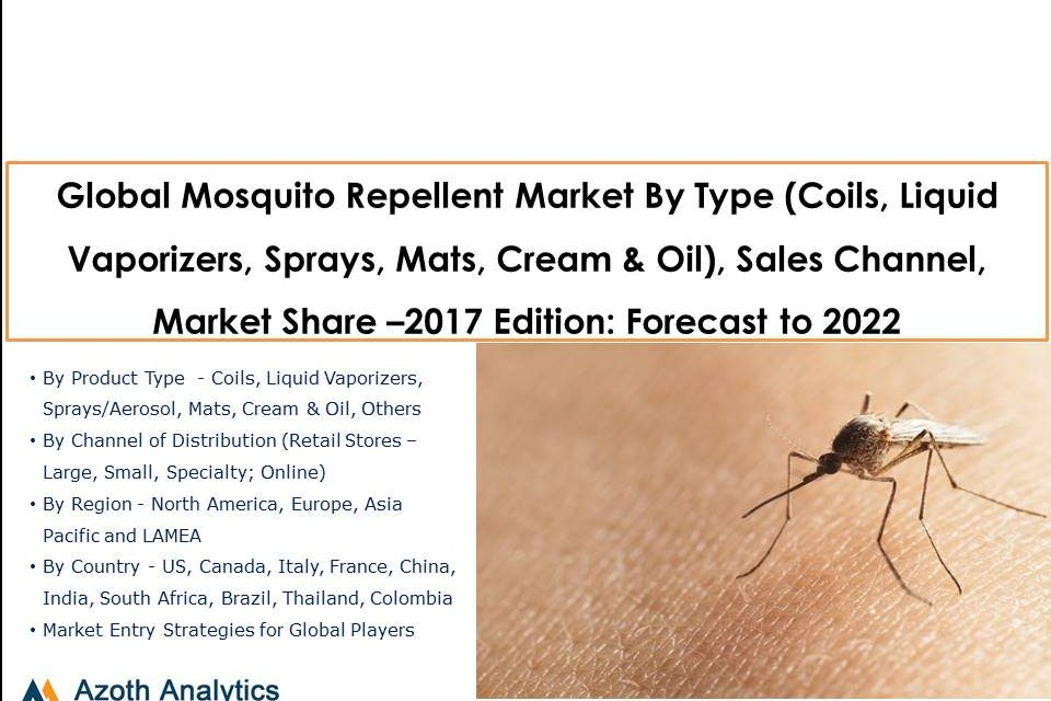 Global Mosquito Repellent Market By Type (Coils, Liquid Vaporizers, Sprays, Mats, Cream & Oil), Sales Channel, Market Share (2017 Edition): Forecast to 2022