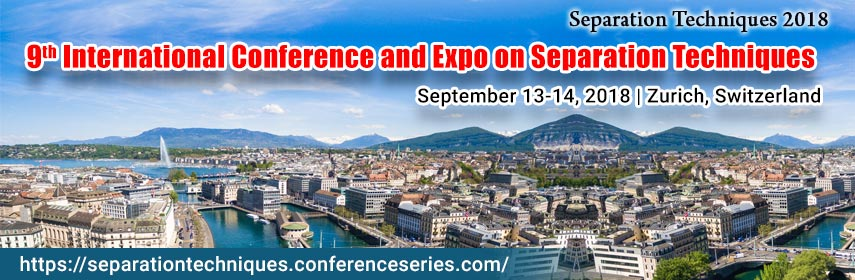 9th International Conference and Expo on Separation Techniques,Conference Series LLC invites all the participants from all over the world to attend 9th International Conference and Expo on Separation Techniques September 13-14,2018 Zurich, Switzerland. This includes prompt keynote presentations, Oral talks, Poster presentations and Exhibition. Separation Techniques 2018 is a global annual event to discuss and learn about Novel separation techniques in chemistry, Hyphenated Separation Techniques, Emerging separation technologies, Advances in Sample Preparation Techniques, High Performance Liquid Chromatography, and Advancements in chromatography techniques, Spectroscopy, Basic separation techniques and research related to these fields with the theme An Insight into the Research Applications of Various Separation Techniques. September 13-14, 2018 Zurich, Switzerland