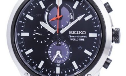 Seiko Sportura World Time Solar Chronograph SSC483P1 Mens Watch: Sports in a Dress Clothing